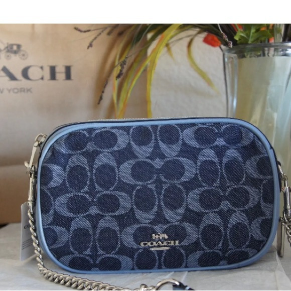 e2491e9508 Authentic COACH Denim leather Signature Crossbody